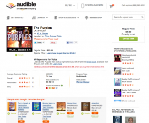 Audible page for book
