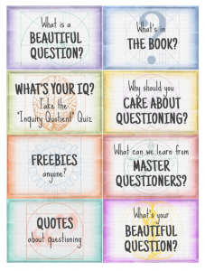 Featured buttons from the A More Beautiful Question site.